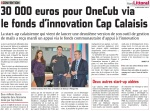 30 000 euros pour OneCub via le fonds d'innovation Cap Calaisis